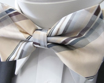 Tan Gold With Silvers Grays And White Stripe Design (With Free Pocket Square) PreTied Bow Tie