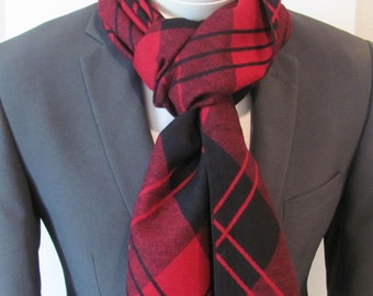 Mens or Womens Scarf Soft And Warm Red And Burgundy Plaid With Fringe Mens or Womens  Fashion Scarf