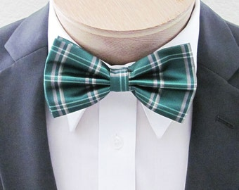 Mens Bow Tie Green Plaid with taupe (With Free Pocket Square) Banded Pre Tied Bow Tie