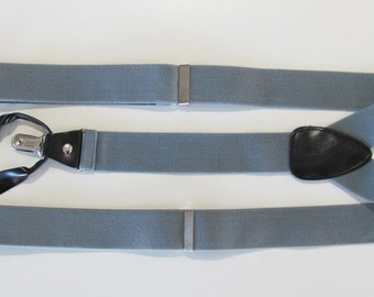 Combination  Suspender / Braces   Set Wear Pant Buttons Or Clips All Provided Silver Gray In Color