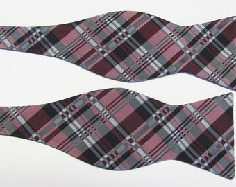 Mens Dusty Rose Raspberry, Silver And Burgundy Free Pocket Square   Plaid  Design  Self Tie Freestyle Bow Tie