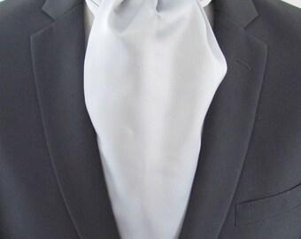 Mens Ascot Silver Gray Formal Self Tie  Mens Formal Ascot