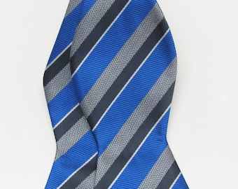 Mens Bowtie Royal Blue Silver And Gray Striped Mans Self Tie Ajustable Bow Tie