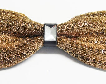 Mens Gold Metal Bow Tie With Gold Crystals  Adjustable PreTied Mans Bow Tie
