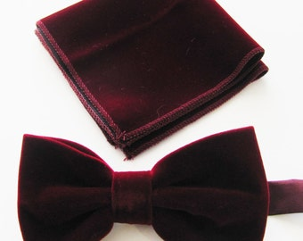Mens Fancy Burgundy, Wine Velvet With Free Pocket Square Adjustable PreTied Mans Bow Tie