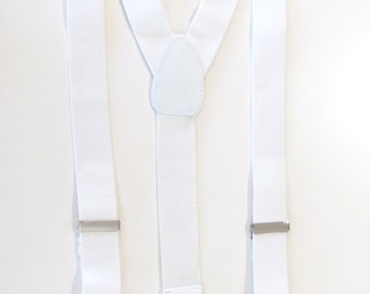 Combination  Suspender / Braces   Set Wear Pant Buttons Or Clips All Provided White In Color