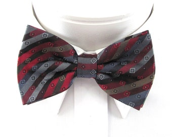 Mens Bow Tie  Red,Charcoal Gray, Silver And Brown Designer Stripe (With Free Pocket Square)  Pre Tied Bow Ties .. Pocket Square Option