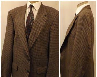 70s Halston Brown Houndstooth Mens Sport Coat Size 44L