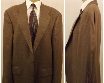 80s Polo Brown Glen Check Sport Coat Size 42R by Ralph Lauren