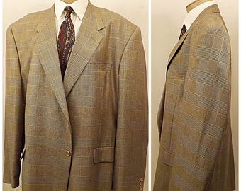 Mens Adolfo Italian Silk Wool Gray Glen Check Sport Coat Size 46
