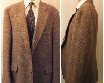 Vintage 70s Brown Harris Tweed Houndstooth Sport Coat Size 42 R