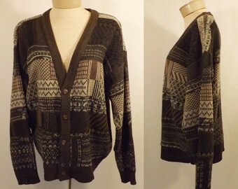 80s Vintage Claybrooke Men's Brown Pattern Cardigan Sweater Size L