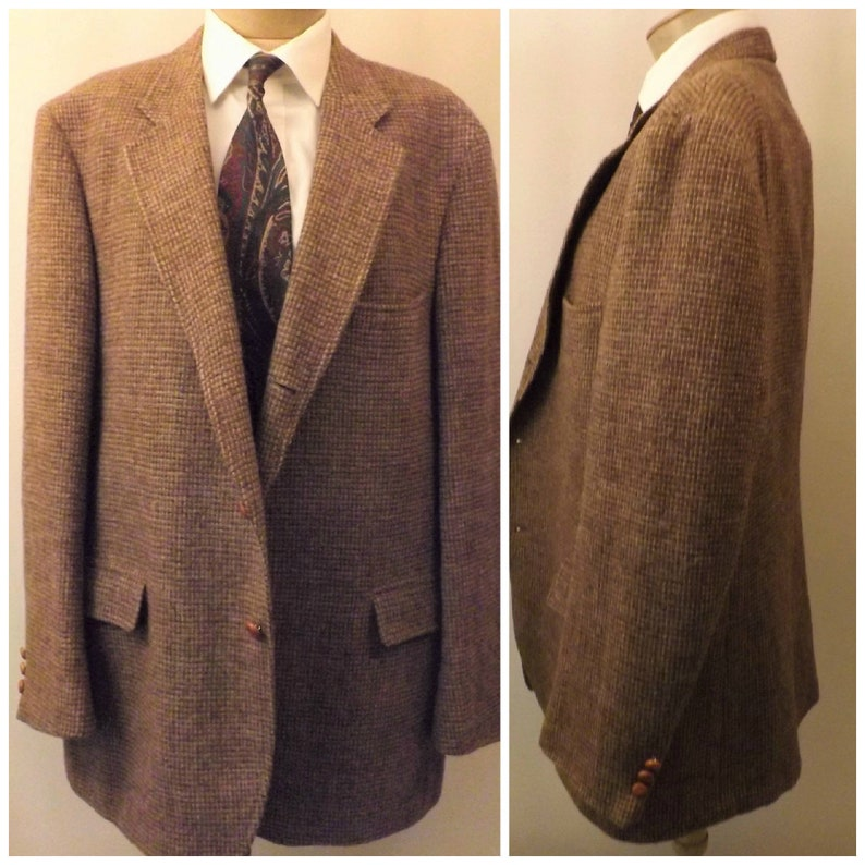 fbb2037dcf 70s Harris Tweed Vintage Brown Houndstooth Sport Coat