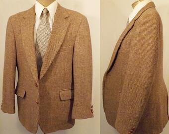 Vintage 80's Brown Wool Tattersall Mens Sport Coat Size 40