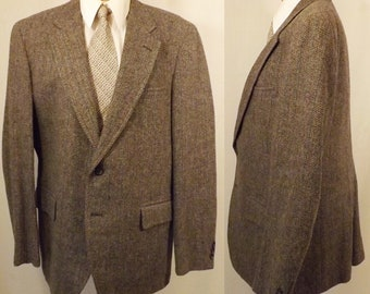 Vintage Mid 70's Gray Herringbone Tweed Men's Sport Coat Size 40