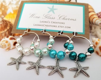 beach wine charms 4 starfish wine glass charms beach theme bridal shower favors beach wedding favors beach wine gift lasmascreations