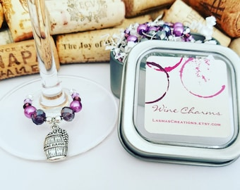 Purple Wine Charms, Wine Glass Charms, Wine Gift, Wine Theme Gift, Wine Accessory, Wine Lover Gift, Unique Wine Gift, LasmasCreations