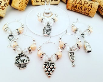 Wine Charms, Wine Gift, Wine Glass Charms, Wine Theme Birthday Gift, Wine Accessory, Wine Gift for Her, Barware, Wine Lover, LasmasCreations