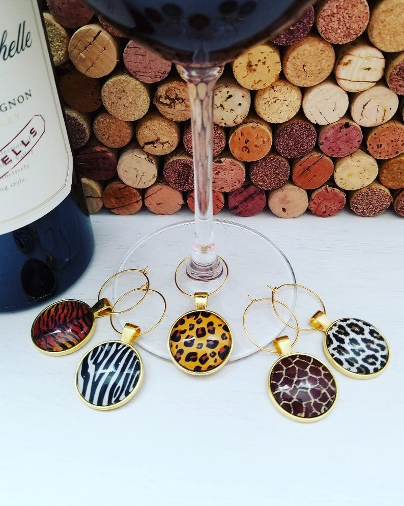 Animal Print Birthday Party Decorations Leopard Print Gift- Ready to Ship WINE GLASS CHARMS Animal Print Gifts Leopard Print Party