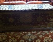 Antique Moroccan Chest Wedding Chest Wood Brass Nail Tribal African Dowry chest