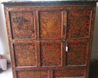 ANTIQUE TIBETAN CHEST Red Polychromed Tibet Furniture Cabinet Cupboard  Storage 19th Century Vintage Oriental Asian Floral Tribal Zen