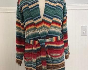 5429ffccc Ralph Lauren Sweater Coat Hand knit Serape Southwest Indian Blanket Aztec  Western Tribal shawl Collar Maxi Robe Vintage