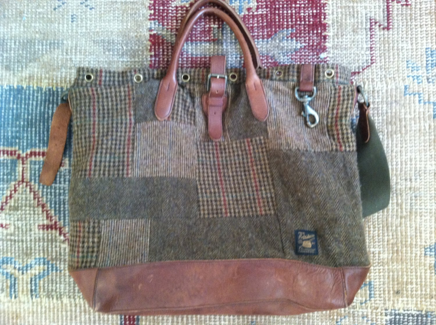 9c37013f90 RALPH LAUREN DUFFLE Tote Bag Wool Patchwork Patched Leather