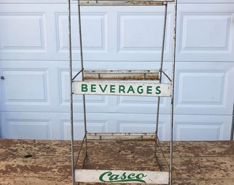 Vintage Metal Rack Mid Century Maine Soda Rack Wire Casco Beverage Portland Soda Pop Advertising Store Display