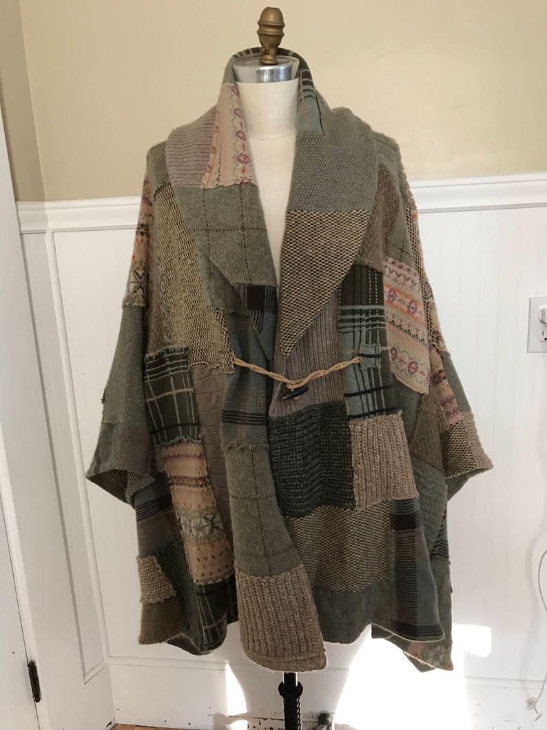 41d5674b Ralph Lauren Cape Patchwork Cloak Toggle Ponco Sweater Vintage   Etsy