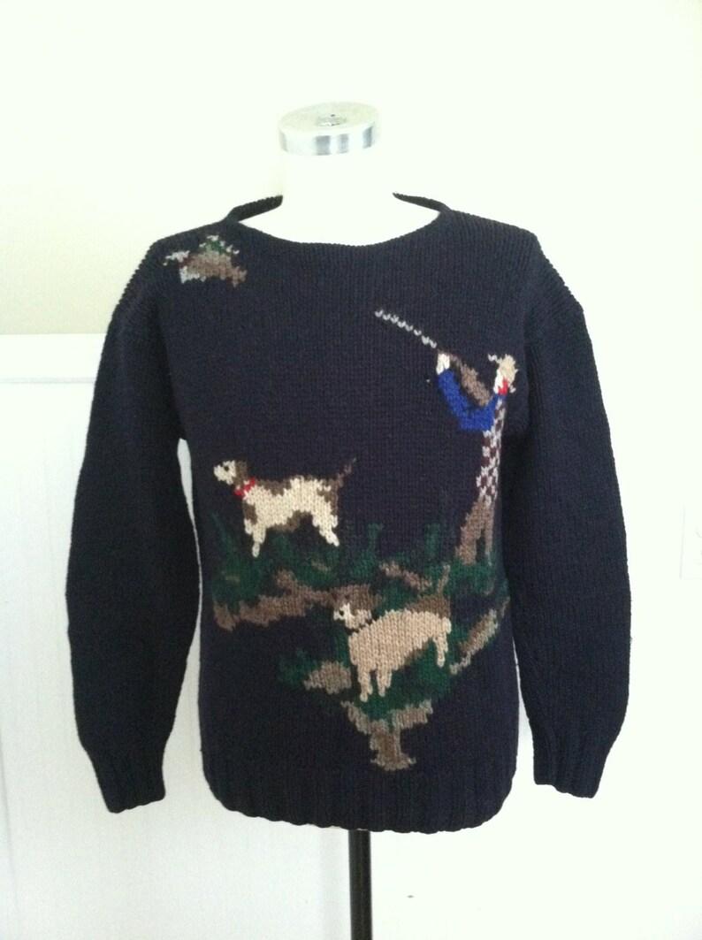 230db1922cf43 Ralph Lauren Hand Knit Sweater Hunting Navy Blue Label Vintage