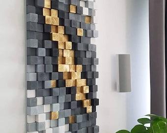 Gold mine 47x19inches, wood wall art, 3d sculpture, wooden art, geometric wall art, wood mosaic