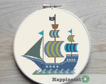 Pirate cross stitch | Etsy
