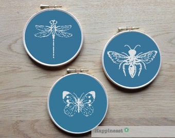 set of 3 modern insects, butterfly, bee, dragonfly, PDF pattern ** instant download**