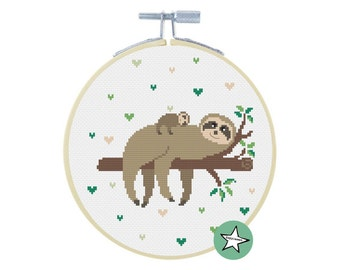 cross stitch pattern sloth, sloth & baby sloth, modern cross stitch, nature, PDF,  ** instant download**