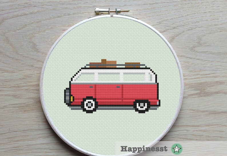 cross stitch pattern Volkswagen bus, modern cross stitch, camper, PDF **  instant download**