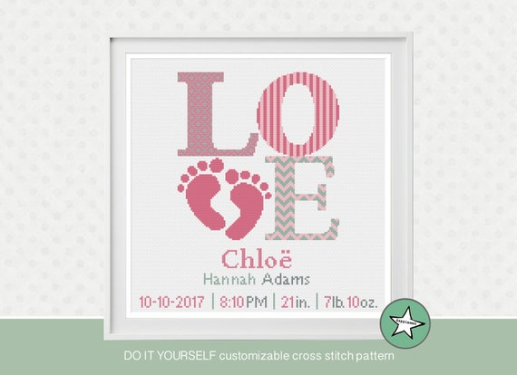 I love you to the moon and back birth announcement DIY customizable pattern** instant download** cross stitch baby birth sampler