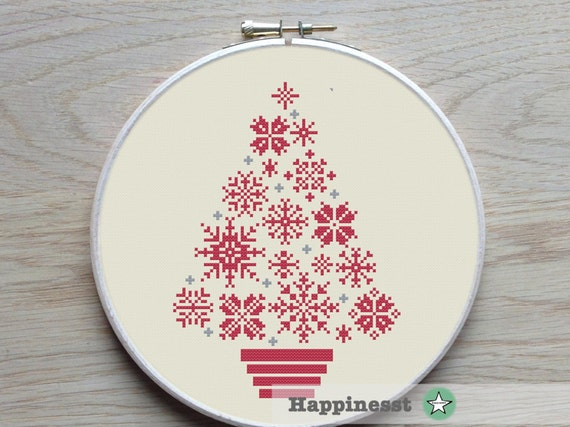 Cross Stitch Christmas Tree Snowflakes Modern