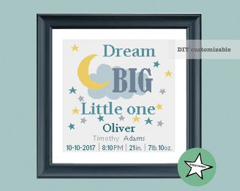 cross stitch baby birth sampler, birth announcement, dream big little one, yellow-turquoise, DIY customizable pattern** instant download**