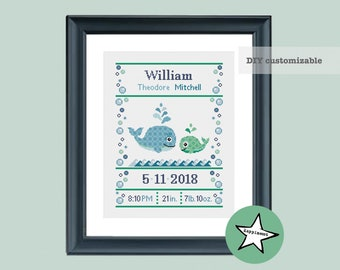 cross stitch baby birth sampler whales, birth announcement, baby boy, DIY customizable pattern** instant download**