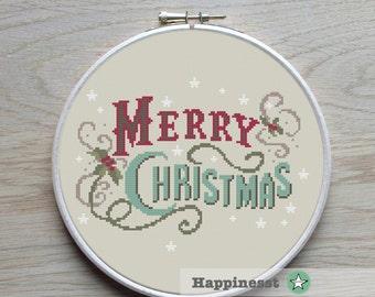 christmas cross stitch pattern, merry christmas, vintage, modern cross stitch, PDF, ** instant download**