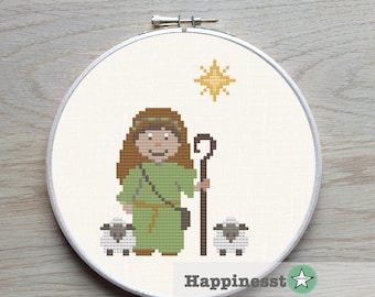 christmas cross stitch pattern, shepherd and sheep, nativity scene, christmas decoration,  religious, PDF, ** instant download**