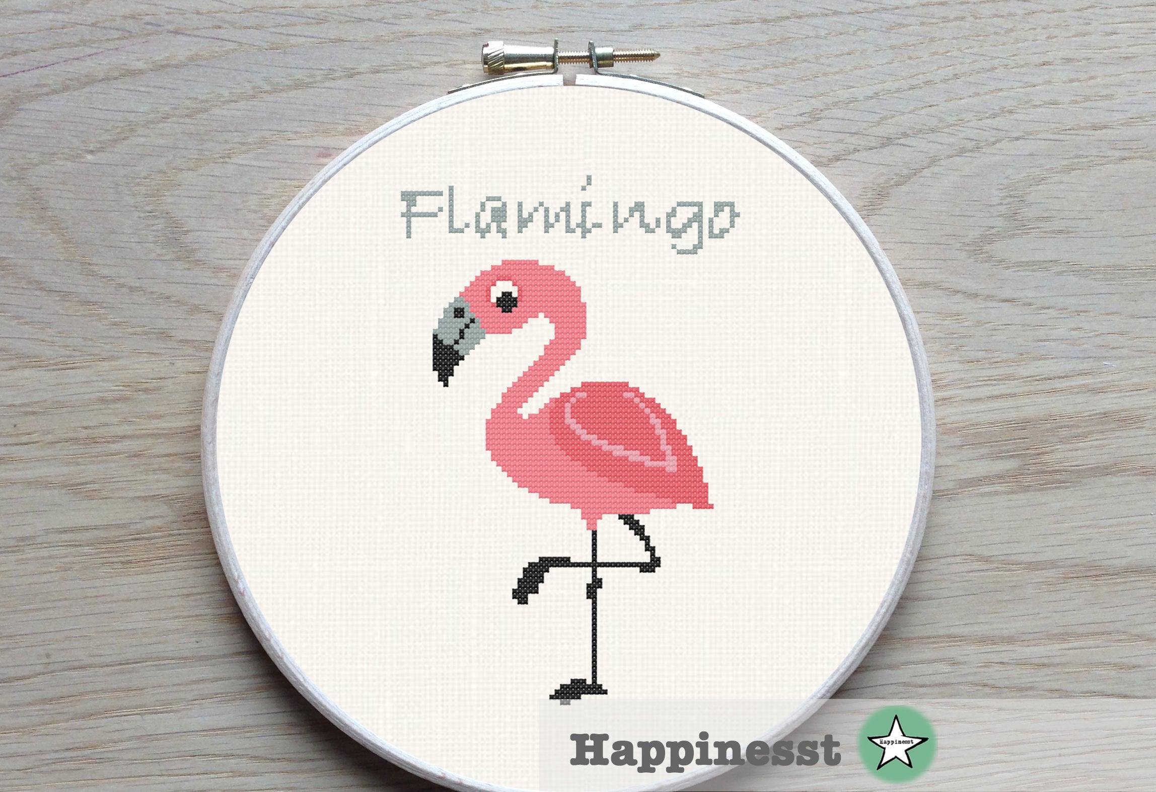 cross stitch pattern flamingo geometric flamingo modern