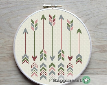 cross stitch pattern arrows, arrows native, green and rose, PDF pattern ** instant download**