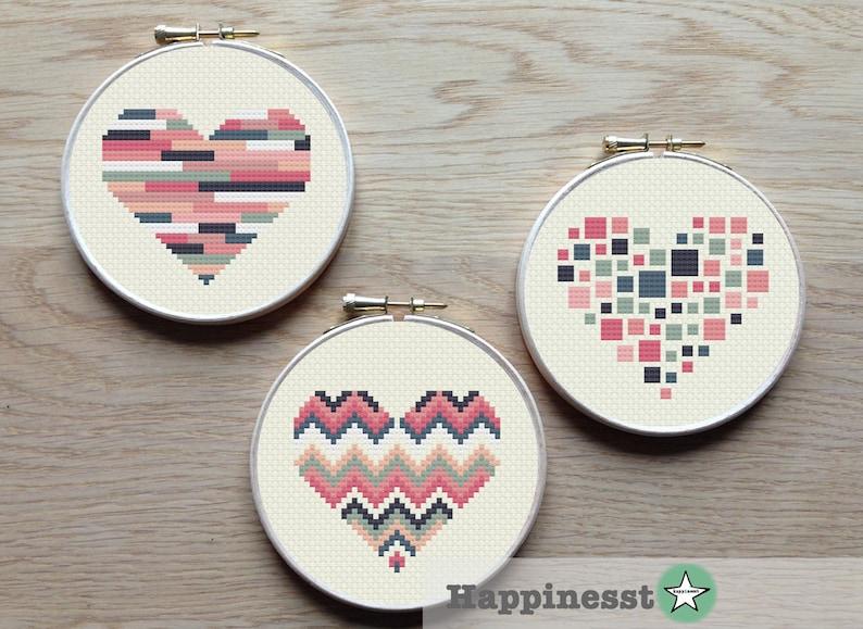 3 geometric modern cross stitch heart patterns hearts set of image 0