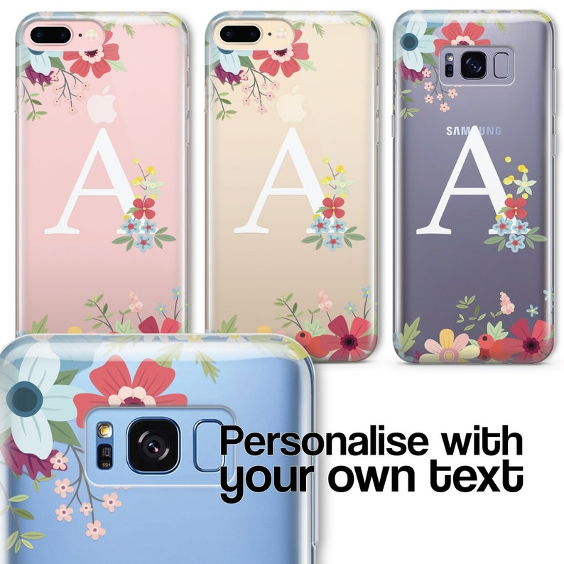 san francisco 8d841 ba234 Personalised CLEAR OPAQUE INITIAL Floral Phone Case Cover for iPhone  Samsung Range