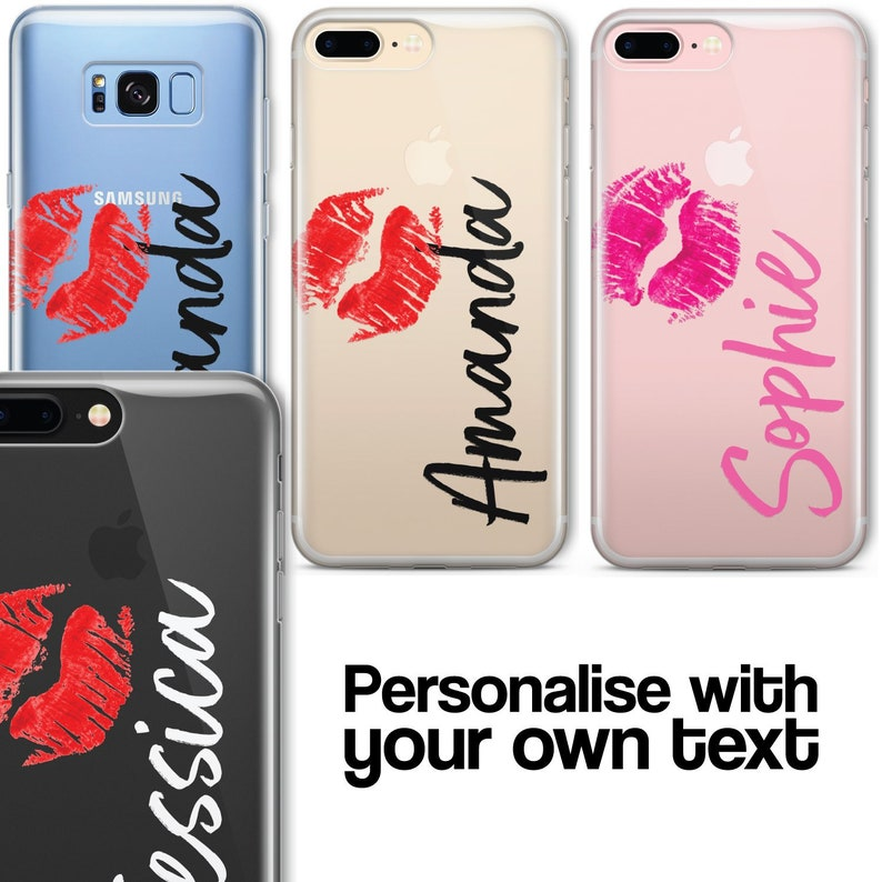 free shipping b40ce 144ae Personalised CLEAR OPAQUE KISS Initial Name Phone Case Cover for iPhone  Samsung Range