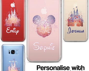Cartoon Movie PERSONALISED CLEAR TPU Phone Cover Case for iPhone & Samsung Disney
