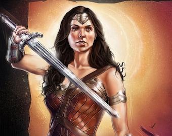Personalised Movie Poster, Wonder Woman illustration, Custom Portrait, Custom Painting, Custom Movie Poster, Wall art print, Art Commission