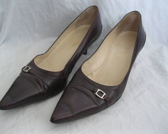 Maroon Leather Cole Haan Heels Size 38 1/2
