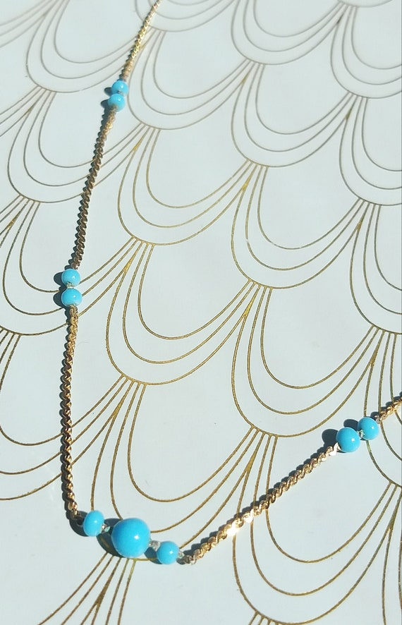 Vintage French Long Turquoise Bead  and Gold Necklace